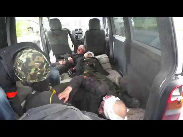 23 мая 2014 Бой под Карловкой - отправка раненых бойцов батальона Донбасс