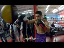 DANNY GARCIA WORKING COMBINATIONS FOR BRANDON RIOS ON THE DOUBLE END BAG