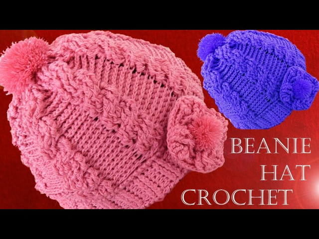 Como tejer gorro boina a Crochet o Ganchillo trenzas en relieve