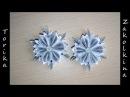 Белая снежинка цветок канзаши Мастер класс Snowflake kanzashi DIY flower