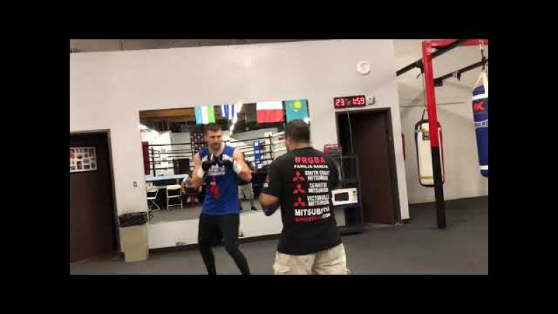Alex Gvozdyk looking impressive on the mitts as he prepares for his fight March 17