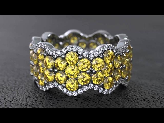 Wedding Band with Yellow Diamonds HD