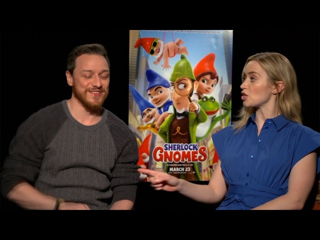 Emily Blunt, James McAvoy talk animation, gnomes