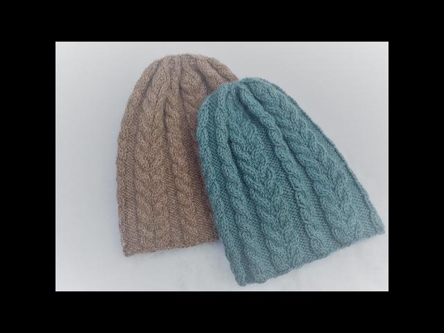 Как связать спицами женскую шапку на р 56 58 Шапка с косами Вяжем вместе МК