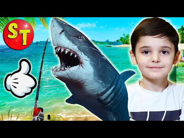 Мобильная игра рыбалка - ПОЙМАЛ АКУЛУ. часть 1 | mobile game FISHING CLASH. funny kids.