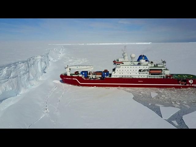 КОРАБЛЬ РАЗГРУЖАЕТСЯ В АНТАРКТИКЕ (Agulhas arrives at the Antarctica iceshelf - version 2)