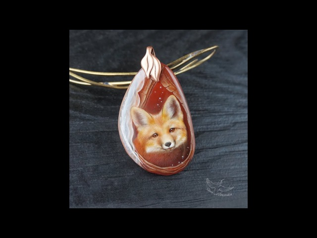 Кулон роспись на камне Лисенок лаковая миниатюра - 3D рисунок реализм