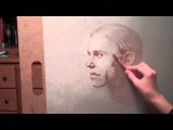 Speed drawing of a young adult male