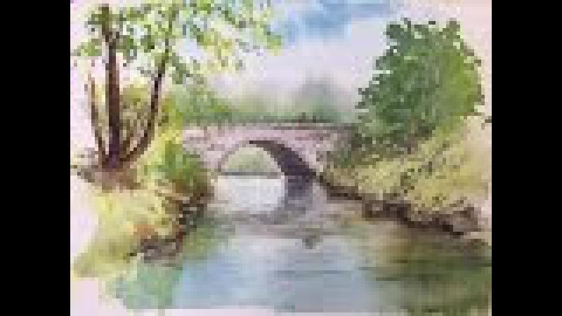 Как рисовать мост. Акварель. How to draw paint the Bridge. Watercolour