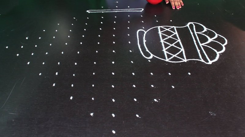 Big pot muggulu designs with 15X1 dots | telugu muggulu latest | big rangoli designs with dots