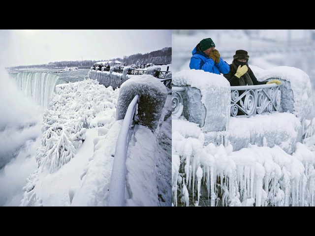 Niagara falls FREEZES wind chill drops as low as 89 DEGREES and people prepare for a chilly New Year