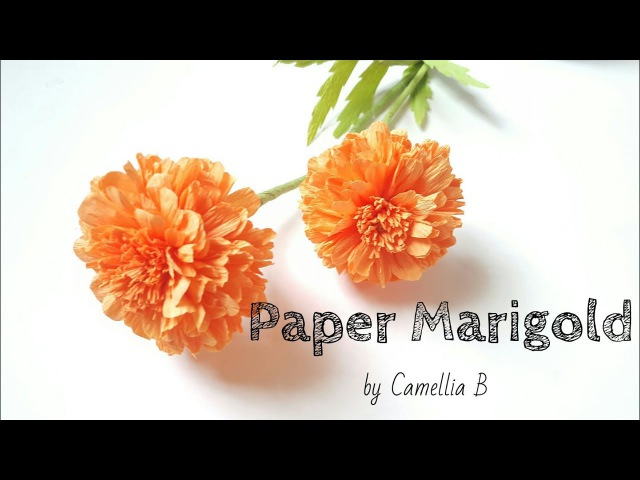 Crepe paper flower, How to make paper Marigold flower from crepe paper - Easy and Fast