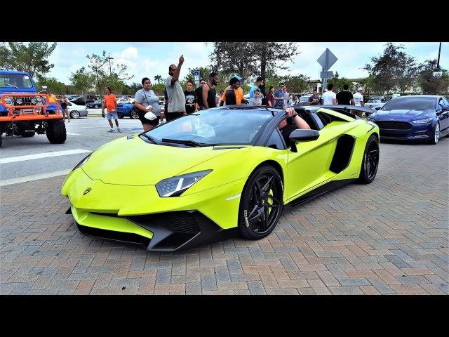 Lamborghini Aventador SV Aventador LP700 4 Two Loud Green Bulls at Cars Coffee Palm Beach