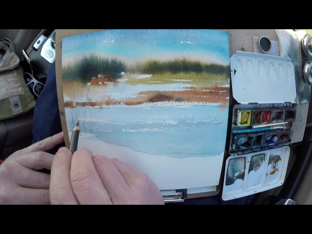 Watercolor sketching of a winter landscape on location (plein air)