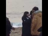 Kim So Hyun filming Radio Romance at a beach today Kwak Dong Yeon and Yoon Doo Joon