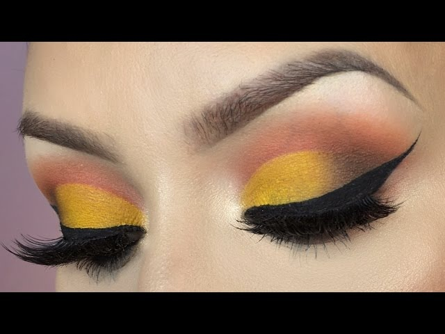 Yellow cut crease l Trying new makeup