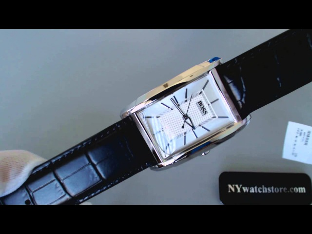 Men's Black Hugo Boss Rectangular Date Watch 1512620