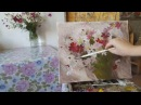 Живопись маслом Красотка космея на белом Пишем букет цветов