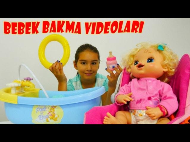 Bebek bakma videoları Bebeğin bezi değiştir mama yedir banyosu yap gezdir Evcilik oyuncakları
