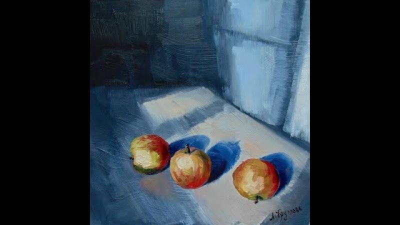 Пишем яблоки светотени маслом с применением структурной пасты для структурного фона