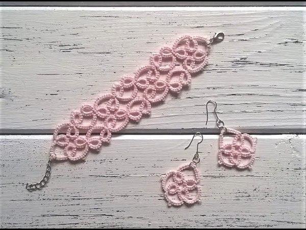 Beginner needle tatting Bracelet earrings DIY Фриволите иглой для начинающих Браслет и серьги