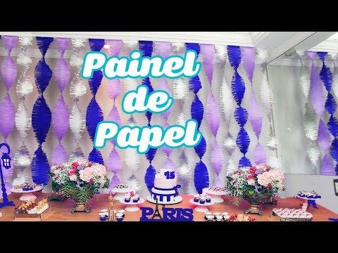 Decoração de festa de quinze anos passo a passo Painel de Papel Crepom