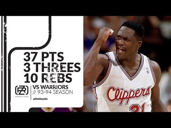 Dominique Wilkins 37 pts 3 threes 10 rebs vs Warriors 93/94 season