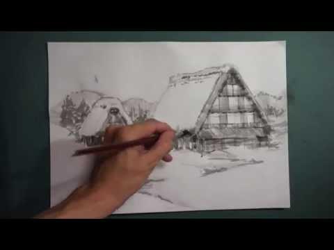 HOW TO DRAW 描き方 「かやぶきの里・北村 Kayabuki no sato Kitamura 」を 墨でデッサン。《8