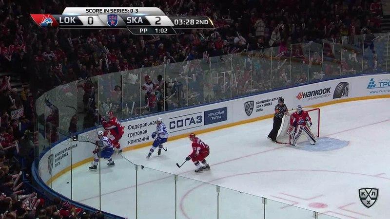 Моменты из матчей КХЛ сезона 17/18 • Гол. 1:2. Александр Кадейкин (Локомотив) сократил отставание в счёте до минимума 29.03