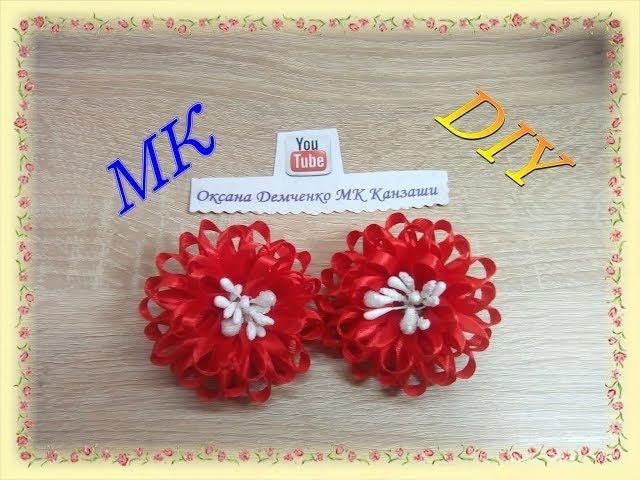 Простой Цветок из узкой ленты Резиночки для волос МК Канзаши A flower from a narrow ribbon