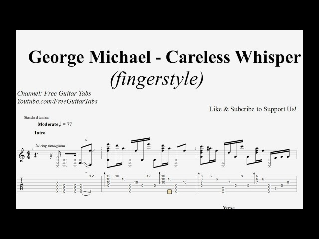 (George Michael) Careless Whisper - Guitar Tab | Fingerstyle | HD 1080p