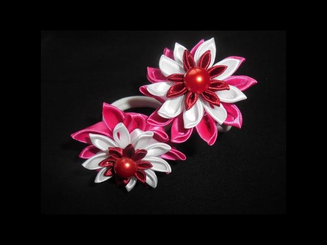 Мастер Класс Канзаши Подробно для начинающих Master Class Kanzashi Flower Detail for beginners