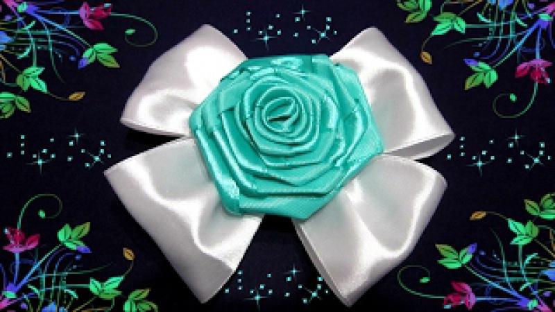 Роза из атласной ленты на заколке! Красивое украшение ) мастер класс !