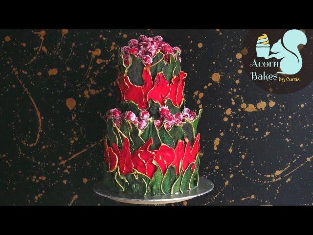FESTIVE PEAR CRANBERRY CAKE TUTORIAL   Christmas Cake Decorating   Acorn Bakes