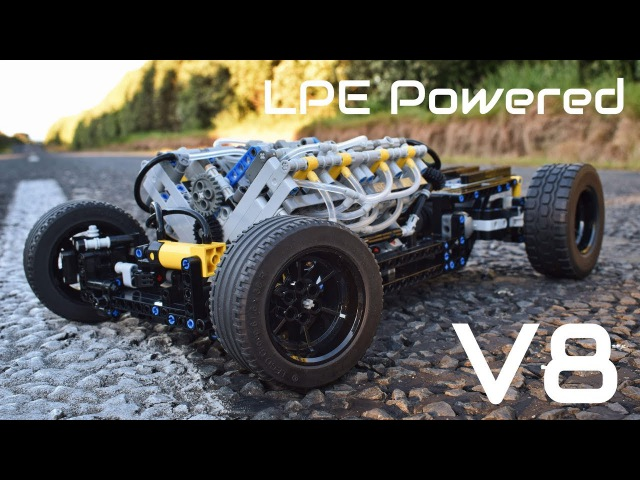 [MOC] Lego Technic Pneumatic HOT ROD Chassis - 1/8th Scale - V8 LPE Powered!