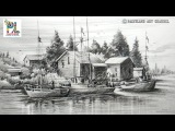How to Draw Old Sailboat Yard Landscape with Pencil For Beginners  Step by Step