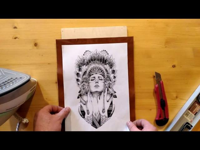Пирография красивая девушка в роуче Видео урок (Pyrography of a beautiful woman video tutorial)
