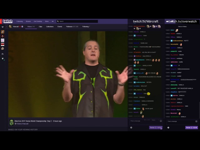 Twitch Chat reaction to World of Warcraft Classic Announcement Blizzcon 2017