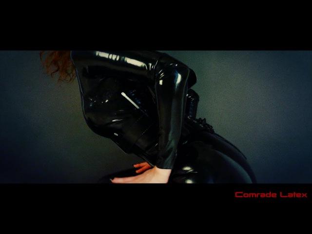 Latex black catsuit sexy fetish