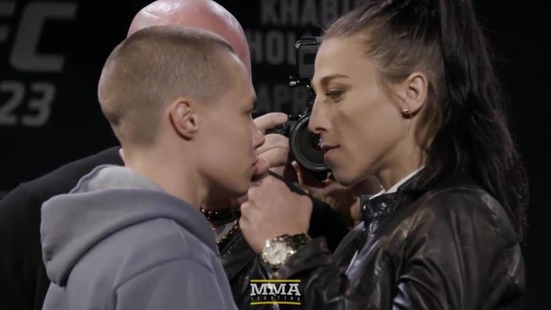 Rose Namajunas vs. Joanna Jedrzejczyk – UFC 223 Media Day [Staredown]