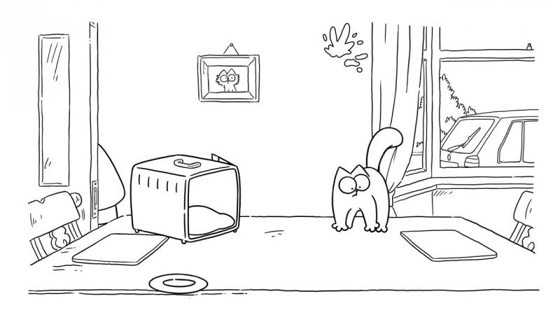 Box Clever - Simons Cat _ BLACK WHITE