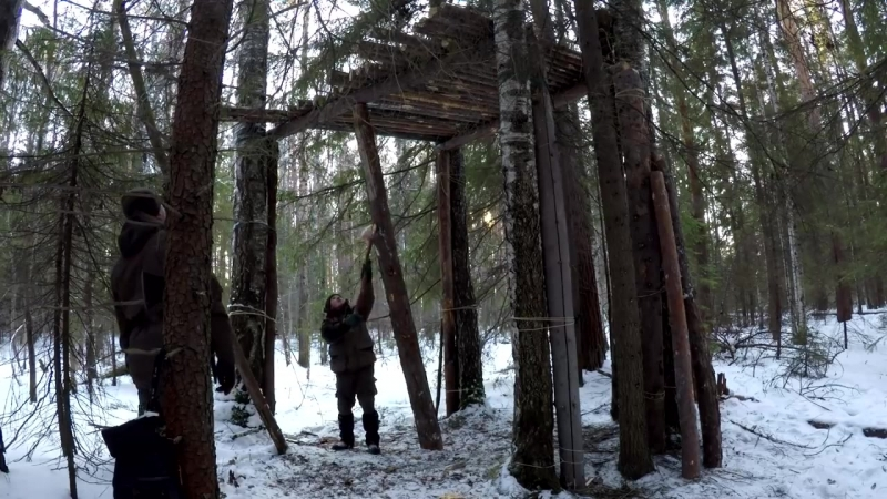 ДОМ НА ДЕРЕВЕ СВОИМИ РУКАМИ - ОХОТНИЧЬЯ БАШНЯ - HUNTING TOWER DIY - BUSHCRAFT HOUSE ON THE TREE