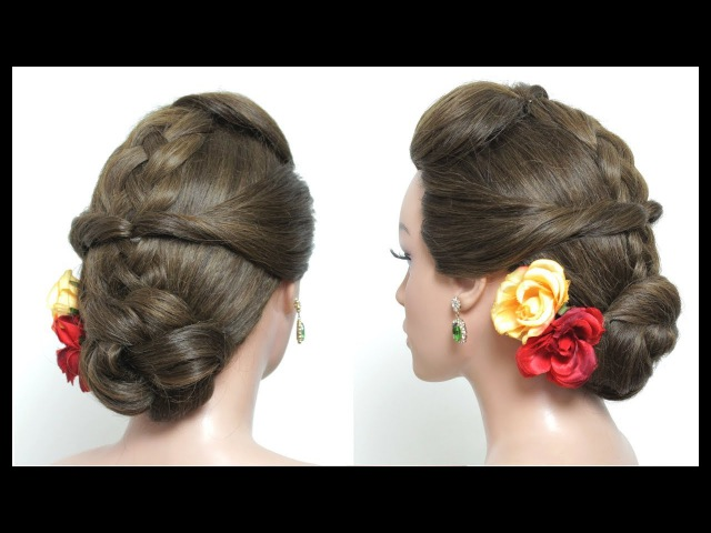 Bridal Hairstyle For Long Hair Tutorial. 4 Strand Braid Updo.