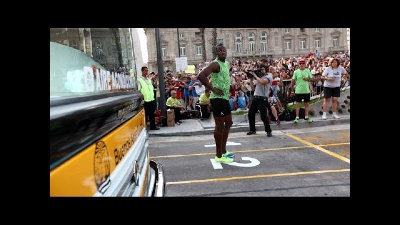 Usain Bolt en la 9 de Julio, le ganó al Metrobús