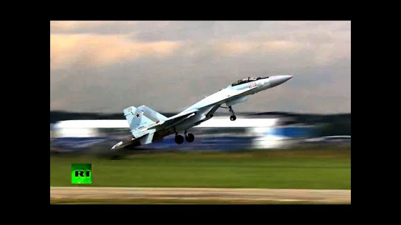 MAKS 2017 МАКС 03 В небе Су-35С - Кобра с поворотом, Чакра Фролова и кульбиты :)
