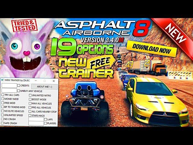 Asphalt 8 Airborne (v3.4.0m) ► NEW MINI TRAINER! ★ 19 Options! ★ 100 WORKS FREE! ► 10.01.2018