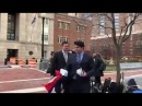 Far Left Protester Throws Russian Flag at Paul Manafort Outside Federal Court