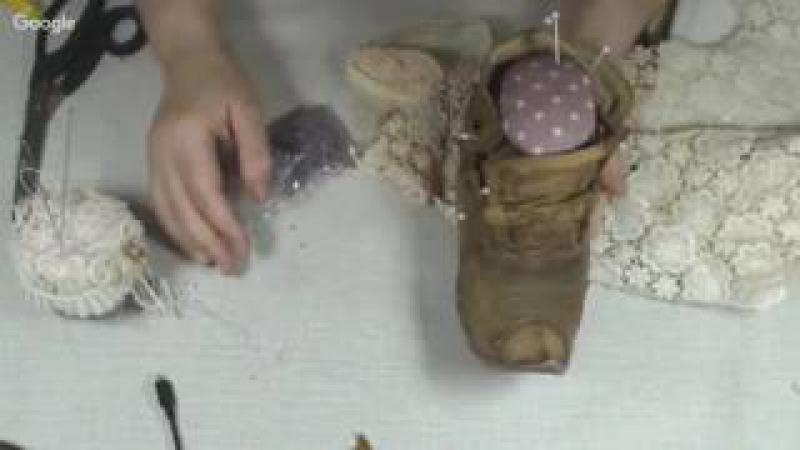 Куклы и игрушки: стильное рукоделие. День 16. Башмак игольница в технике грунтованный текстиль
