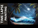 Ocean Waves on a Moonlit Beach - Acrylic Time Lapse Painting Tutorial