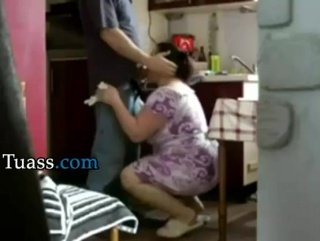 Chubby big ass maid sucking cock and fucking doggy in the kitchen tuass